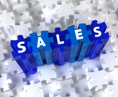 Creative 3D pieces of puzzle and word SALES