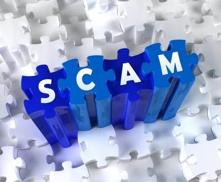 web scam: Creative 3D pieces of puzzle and word SCAM Stock Photo