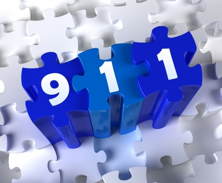 Creative 3D pieces of puzzle and word 911 Stock Photo