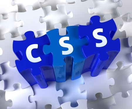 hypertext: Creative 3D pieces of puzzle and word CSS Stock Photo