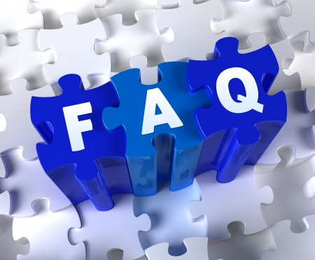 Creative 3D pieces of puzzle and word FAQ Stock Photo