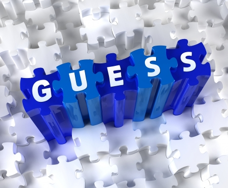 guess: Creative 3D pieces of puzzle and word GUESS