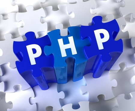 Creative 3D pieces of puzzle and word PHP Stock Photo