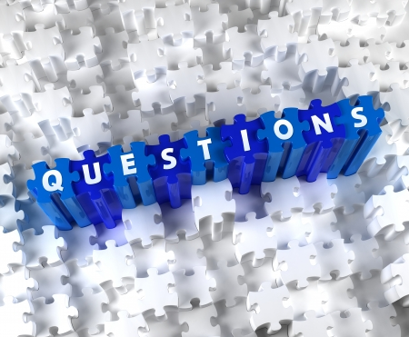 questionable: Creative 3D pieces of puzzle and word QUESTIONS