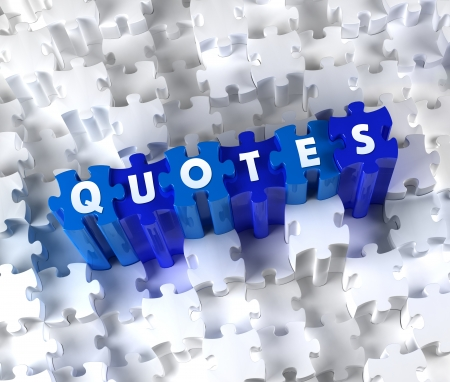 Creative 3D pieces of puzzle and word QUOTES Stock Photo