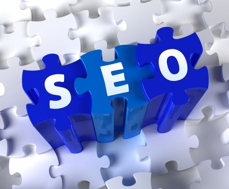 Creative 3D pieces of puzzle and word SEO photo
