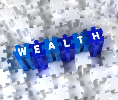 Creative 3D pieces of puzzle and word WEALTH