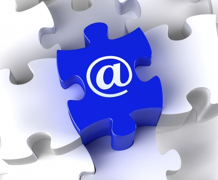 Creative 3D pieces of puzzle and email  at  symbol