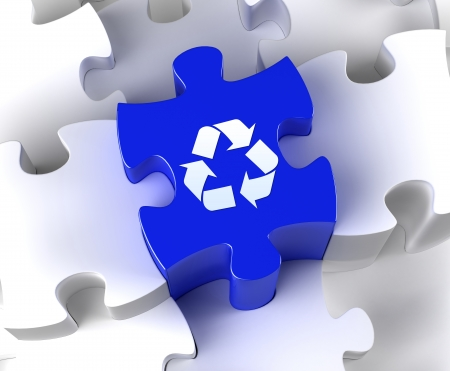 Creative 3D pieces of puzzle and recycle symbol