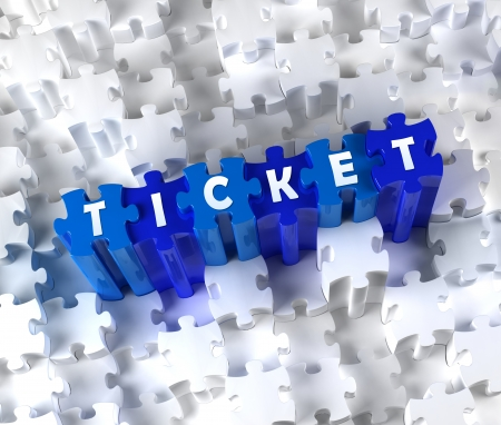 Creative 3D pieces of puzzle and word TICKET photo