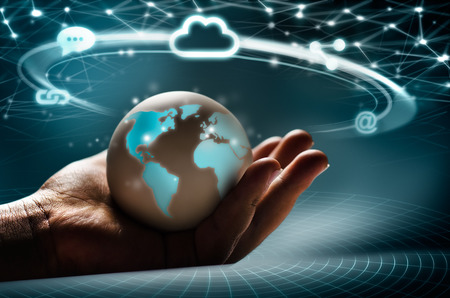 global communication: Cloud global network in the hand