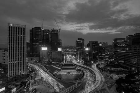 Namdaemun gate in Seoul South Korea in black and white, grain texture style 스톡 콘텐츠 - 151415874