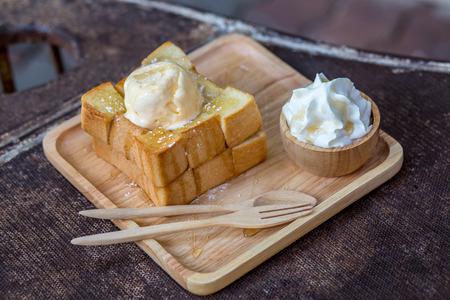 Honey Toast on salver wooden