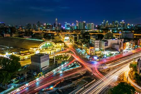 Bangkok, Thailand : 2017 July - Bangkok train station or Hua Lamphong Railway Station at night in Bangkok. Topview cityscape Hua Lamphong Railway Station