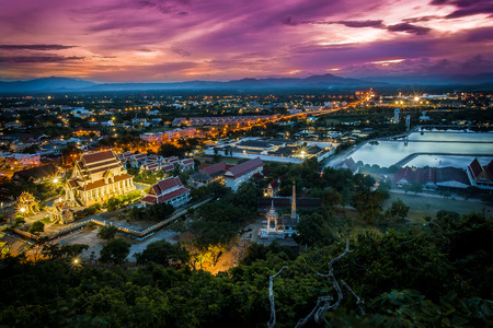 Viewpoint of Khao Chong Krachok at sunrise and grain picture, Prachuapkhirikhan province, Thailand