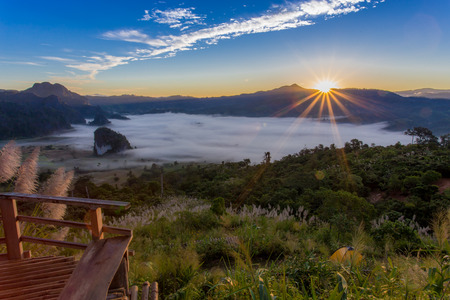 Phu Lung Ka At Sunrise, tent on mountian, cloud in vale
