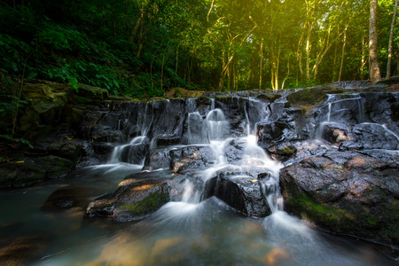 Beautiful waterfall in the forest, Sam lan waterfall, Thailand