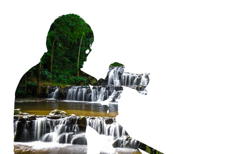 Double exposure portrait of photographer combined with photograph of waterfall. Be creative! 免版税图像