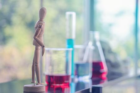 Laboratory glassware in science classroom Foto de archivo