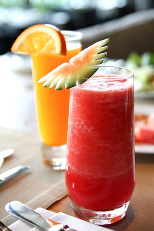 Watermelon juice and orange juice photo