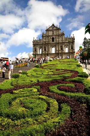 聖 Paul 天主堂跡、マカオの庭 写真素材