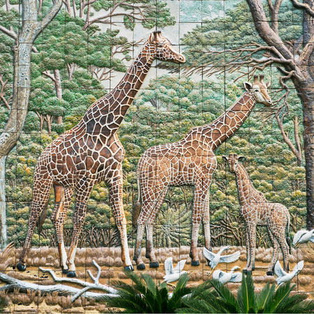 Old wall ceramic tiles patterns handcraft from thailand In the zoo park public not property releases . Stock Photo