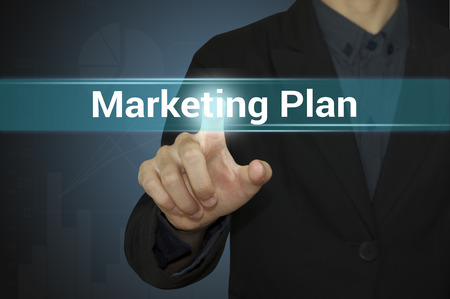 Business pointing marketing plan. Standard-Bild
