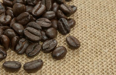 sackcloth: coffee beans on sackcloth.