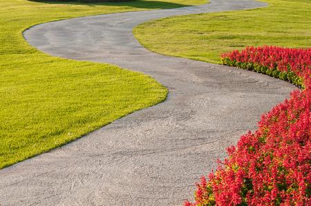 flower garden: walkway in garden.
