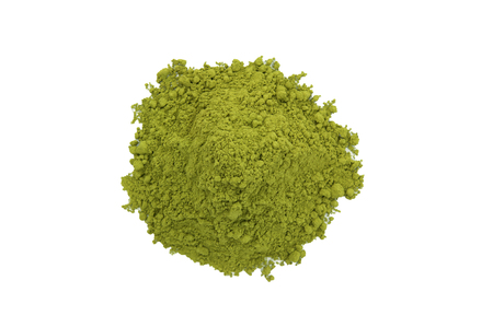 herbal background: Matcha tea isolated on white background. Stock Photo