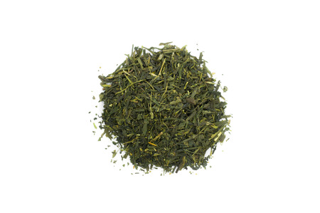 sencha tea: Tea Sencha isolated on white background. Stock Photo