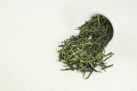 sencha: Dry Tea (Sencha) on white background.