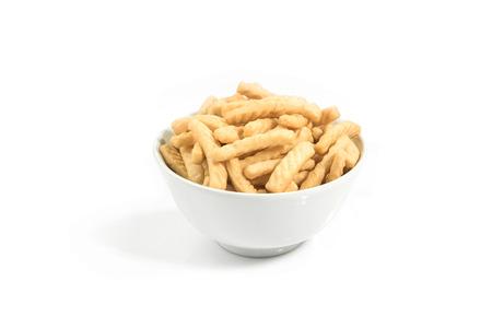 pretzel stick: prawn crackers crackers isolated on white background Stock Photo