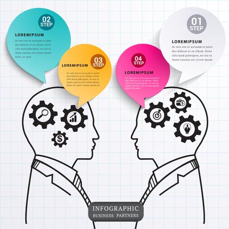 partners: Speech talk partners. Illustration