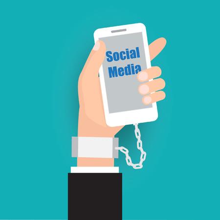 imprison: Social addict lock lifestyle.