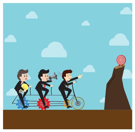 teamwork: Leader take a  teamwork for aim. Illustration