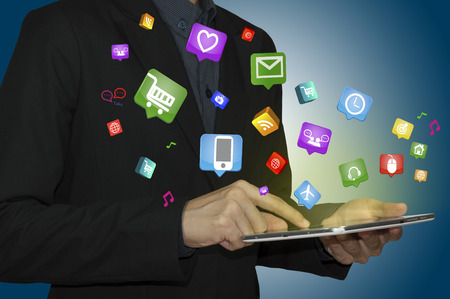 enveloped: Tablet computer with Internet of things and Digital mobile Concept. Stock Photo