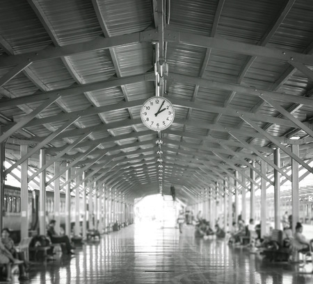 monochrome: monochrome clock in station