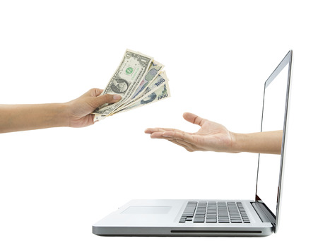 billfold: hand holding money payment online marketing concept.