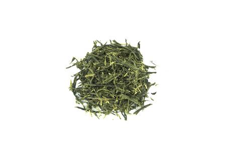 sencha: Tea (Sencha) isolated on white background. Stock Photo