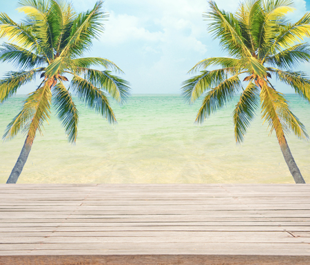 find similar images: Preview Save to a lightbox  Find Similar Images  Share Stock Photo: Empty wooden with coconut tree and sea background for product display.