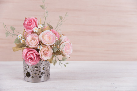 Still Life Interior Decoration Pink Rose Flower In A Vase On Stock
