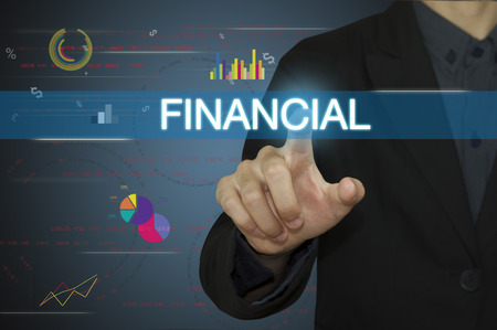 accounts payable: Businessman pointing accounting and financial concept.