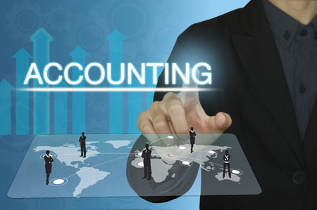 accounts payable: businessman hand pointing text accounting and financial concept.