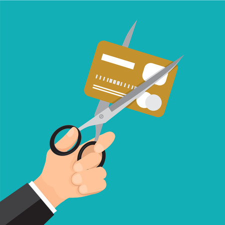 confine: Hand business cutting credit card with scissor. Illustration