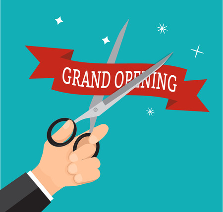 commemorate: Hand business cutting ribbon red grand opening with scissor. Illustration