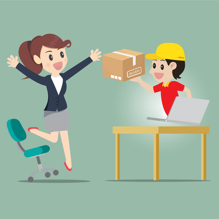 woman jump: Business woman jump for kind shopping online and receive product delivery.illustration cartoon business concept.