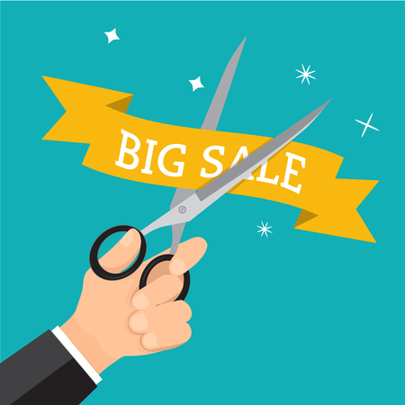 price cutting: Hand business cutting price with scissor. Tag promotion concept discount on sale.illustration business cartoon.