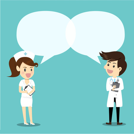Female nurse and male doctor on conversation. Doctor and nurse with speech bubble giving knowledge.