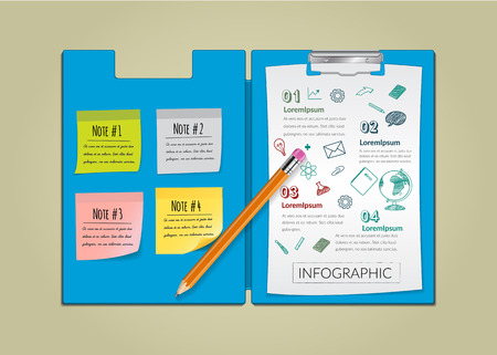 notepaper: Creative report on notepaper infographic with pencil.